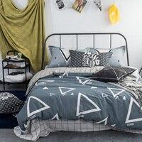 100% Geometría Simple de Algodón Juegos de Cama Funda Nórdica + Fundas de Almohada de Tamaño Completo Reina Rey ropa de Cama de Sábanas de Cama Plana