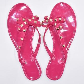 Fashion Woman Flip Flops Summer Cool Beach Rivets Big Bow Flat Jelly Shoe 1