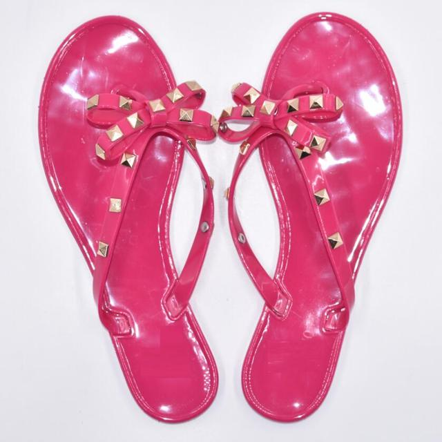 Cool Beach Rivets Big Bow Flat Sandals 1