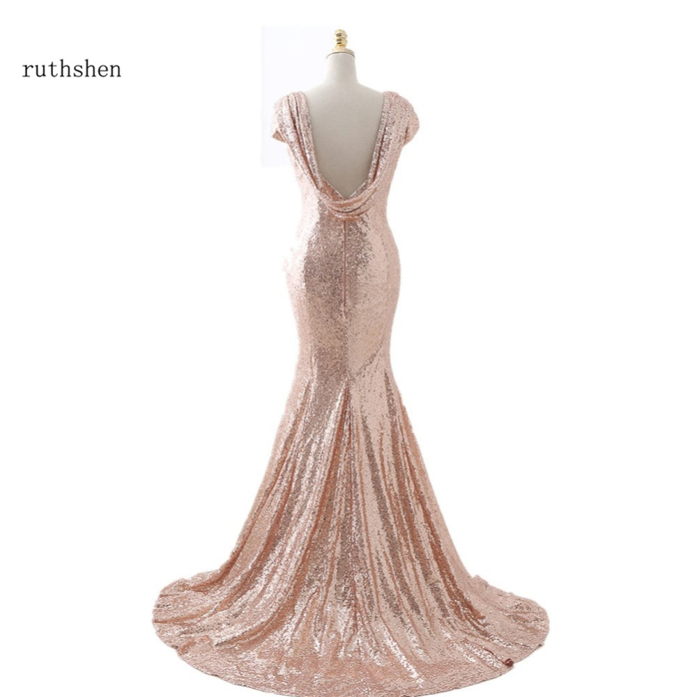 100% Real Photo Mermaid Sequined   Bridesmaid     Dresses   Long With Cap Sleeves Cowl Backless Cheap In Stock Vestido Madrinha