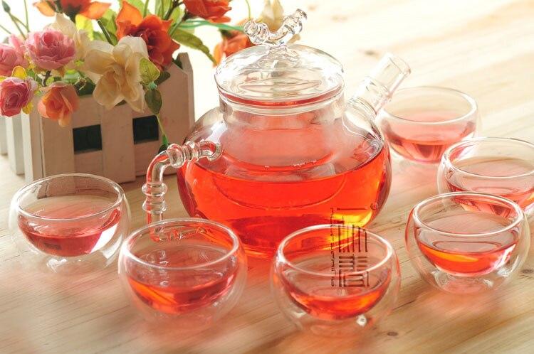 Belle théière en verre 600 ml avec infuseur/filtre + 4/6 tasse, ensemble de thé pour infusion blanc/fleur/matcha/rouge/noir/vert/chinois/thé puer