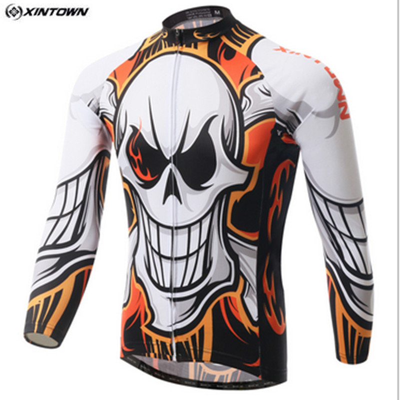 Hot XINTOWN Skull Bike Long jersey MTB Team Cycling clothing Riding Bicycle Top Wear Men Maillot Long Sleeve Ropa Ciclismo