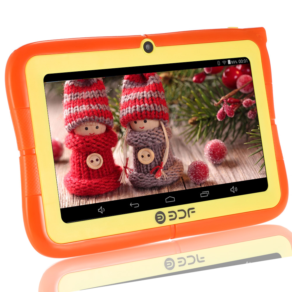 BDF Tablet PC for Children 7 Quad Core tablet A33 Android 4.4 Kids Learning Tablet PC with Parental Control Software 4 Colors cute smile faces high visibility