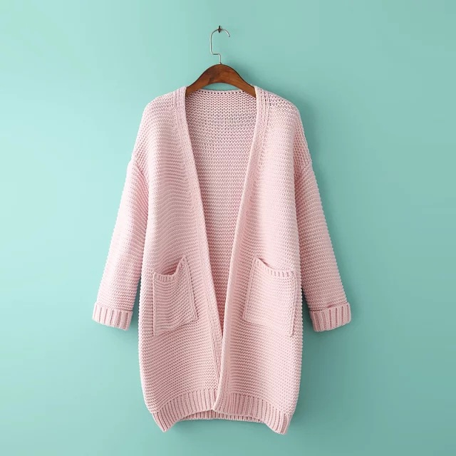 Hot Pink Coat V neck Long Sleeve Women Cotton Cardigan Sweater ...