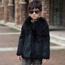2017 Children's Real Rabbit Fur Coat Winter Warm Baby Boys Warm Outerwear Coat Raccoon fur Collar Kids Solid Short Clothing C#9