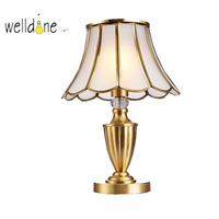 European Luxury Copper Table Lamp E27 AC110V/220V Desk Lamps For Living Room Bedside Home Decor Coffee Shop Hotel Villa Lighting