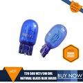 2 PCS T20 Bulbo de Vidro Natural Azul 7443 580 W21/5 W DRL Lâmpadas Filamentos duplos * W3 16q Super Branco Para Vauxhall ASTRA J Polarg M13