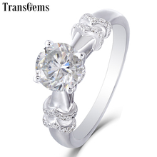 Transgems Moissanite Engagement Gold Ring for Women 14K 585 White Gold Center 2ct F Color VVS Moissanite Gemstone with Accents austrialian fire opal marquise shape 5 10mm 100% natural gemstone ring with moissanite in 14k rose gold with gift box