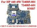 Atacado laptop motherboard 734085-001 para hp probook 440 450 g1 734085-601 hm87 notebook pc 734085-501 testado 90 dias garantia