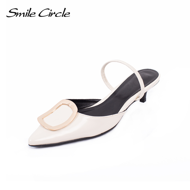 Smile Circle 2018 Summer Sandals Woman Pointed shoes metal square buckle low heel Cozy Sandals Women Shoes Women Sandals xiaying smile summer woman sandals square cover heel woman pumps buckle strap fashion casual flower flock student women shoes
