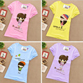Новый летний 1-13Y дети grils футболки хлопка с коротким рукавом тройники мультфильм печатных новорожденных девочек футболки дети одежда