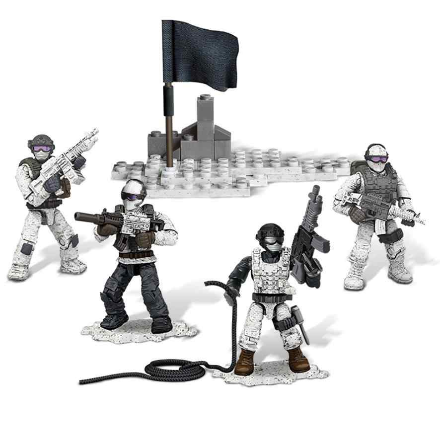 Modern military 1:36 scale Snow Leopard Commando Crossing Snow Mountain mega building block army action figures bricks toys