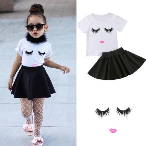 2018 New Fashion Kids Girl Clothes Set Baby Girl Eyeflash White Tops Shirt Black Skirt Children Girls Summer Outfit Sets girl
