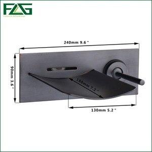 Image 2 - FLG הסתיר אמבטיה ברז טמפרטורת צבע שינוי LED מפל ברז קיר רכוב שמן שפשף שחור אגן ברזי כיור