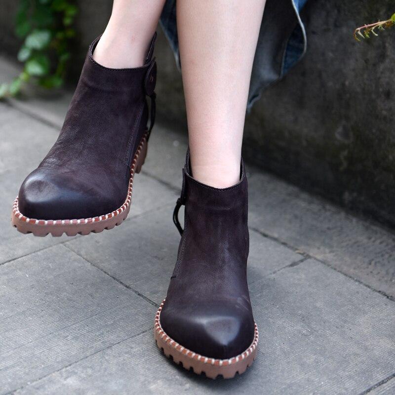 Artmu New Fashion Women Boots Shoes Handmade Soft Genuine Leather Shoes Zipper Lady Shoes Dress Boots