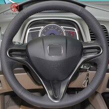 LQTENLEO черная искусственная кожа ручной работы прошитый чехол рулевого колеса автомобиля для Honda Civic старый Civic 2004-2011