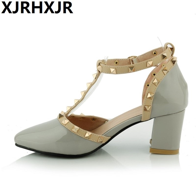 XJRHXJR Spring Summer Single Shoes Woman Pumps Women Thick High Heels Rivets Patent Leather Party Shoes Women Sandals women chic champagne patent leather sandals square thick high heels pumps covered heel single strap gladiator shoes golden pumps