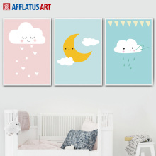 AFFLATUS Clouds Moon Raindrop Nordic Poster Wall Art Print Canvas Painting Cartoon Pictures Style Kids Decoration