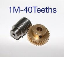 1M-  40Teeth precision copper worm gear rod screw machine parts -2pcs/set