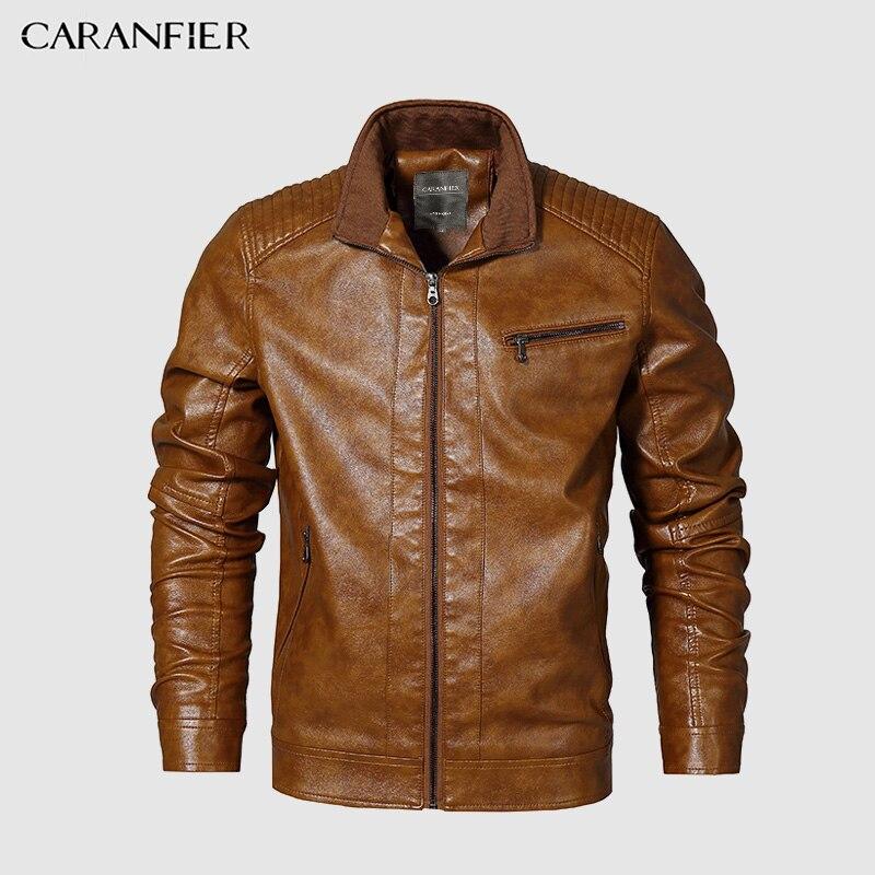CARANFIER hommes vestes Faux cuir Style britannique décontracté hommes d'affaires mâle Long coupe-vent chaud hommes Outwear manteaux Standard taille américaine