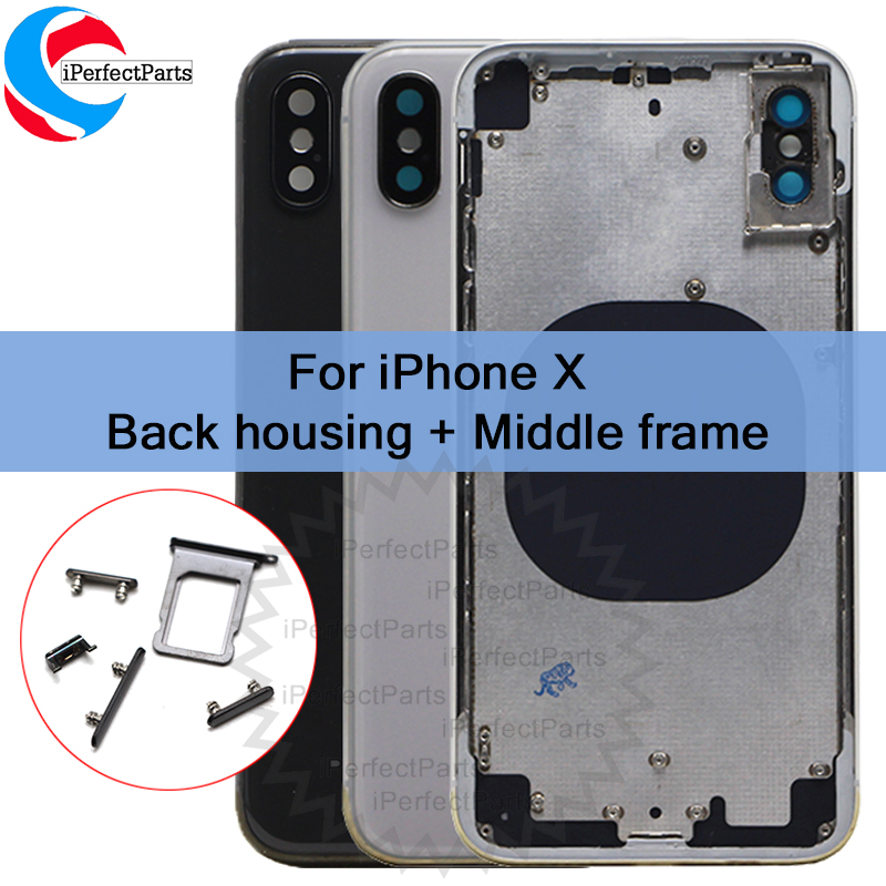 New For iphone X Back housing Middle Frame Chassis Full Housing Assembly Battery Cover replacement For