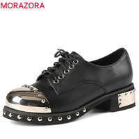 MORAZORA 2018 Hot Woman Pumps Spring Summer Top Quality Genuine Leather Fashion Shoes Lace Up Punk
