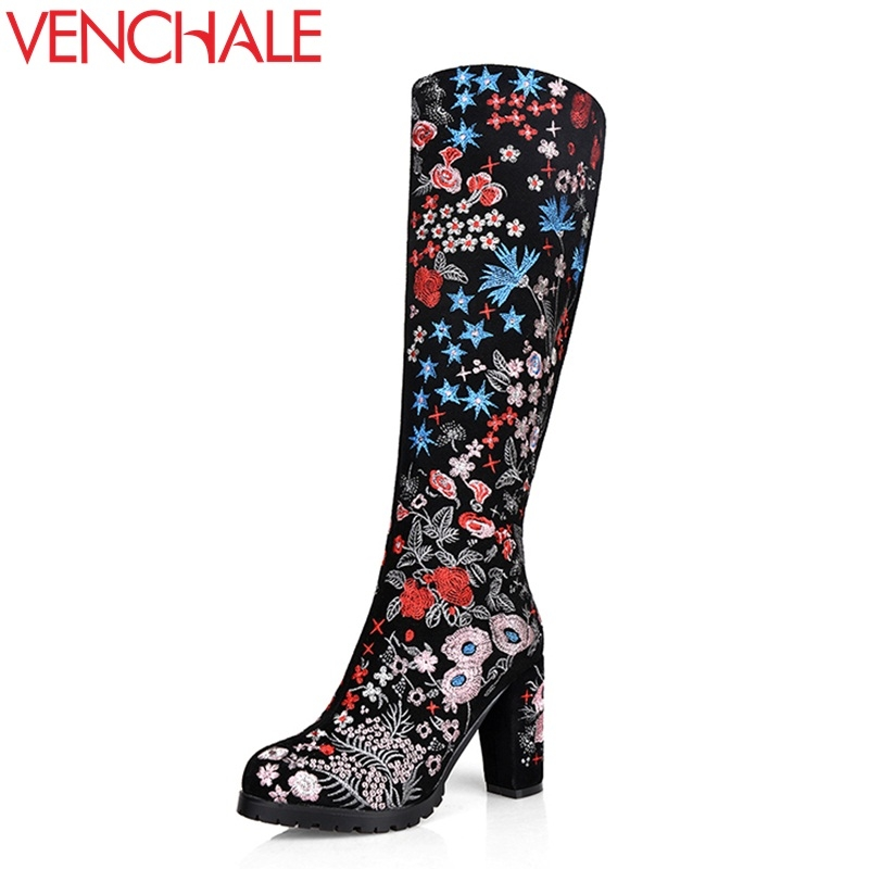 VENCHALE women fashion knee high boots platform thick high heel round toe woman side zipper embroider leather party boots ladies new arrival superstar genuine leather chelsea boots women round toe solid thick heel runway model nude zipper mid calf boots l63