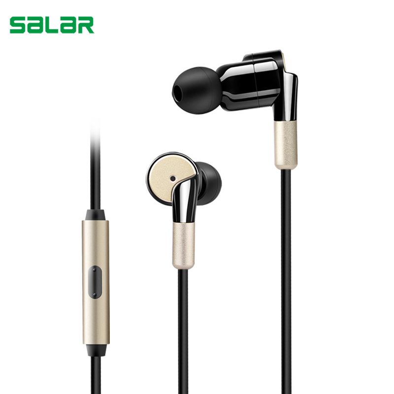 Salar S990 Shocking In-Ear Earphone Metal Heavy Bass Music Sport Earbud with Mic Vibrating Gaming Headset for Mobile Phone