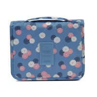 Unisex Blue Print Hanging Toiletry Kit Clear Travel Storage BAG Cosmetic Carry Toiletry Organizer 24x20 5x10cm