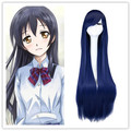 100 Cm Anime Cosplay Wig For  Umi Sonoda Synthetic Hair Mixed Blue Wigs Costume Party Peruca Peluca