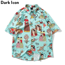 Dark Icon Printed New Fashion Street Mens Shirt 2019 Summer Hawaii Style Men Hip Hop Shirts Male Tops