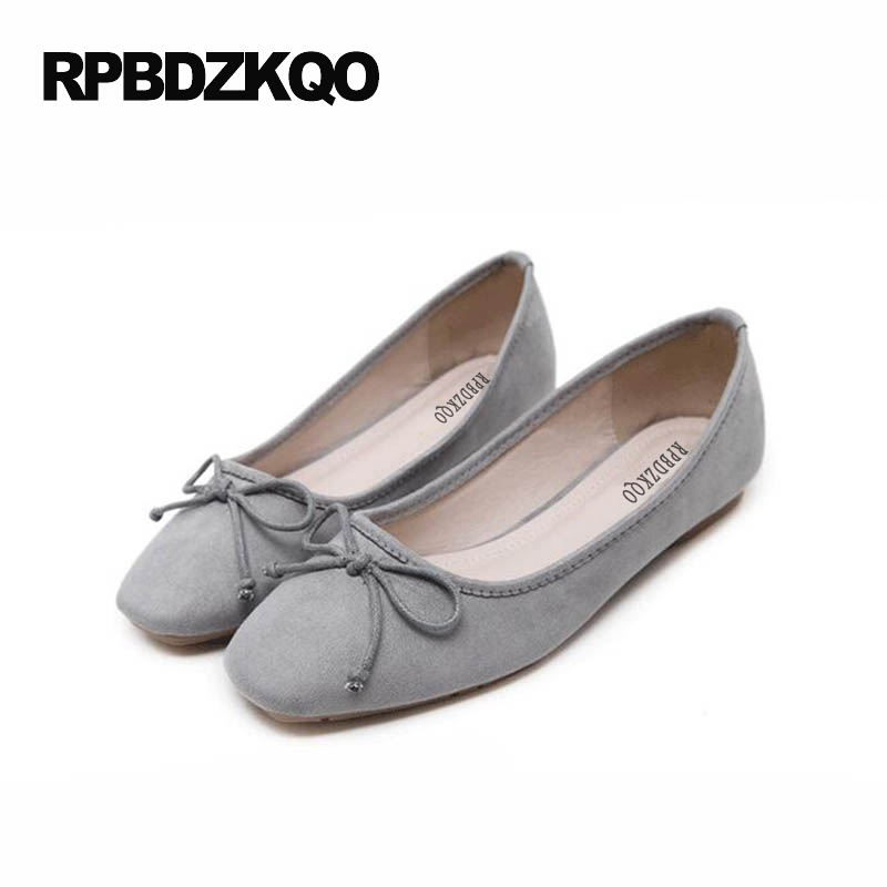 Grey Gray Soft Square Toe Ballerina Women Black Large Size 9 Moccasins Bow  Foldable Ballet Flats Shoes Cheap Bowtie Suede 0d036b4a177a