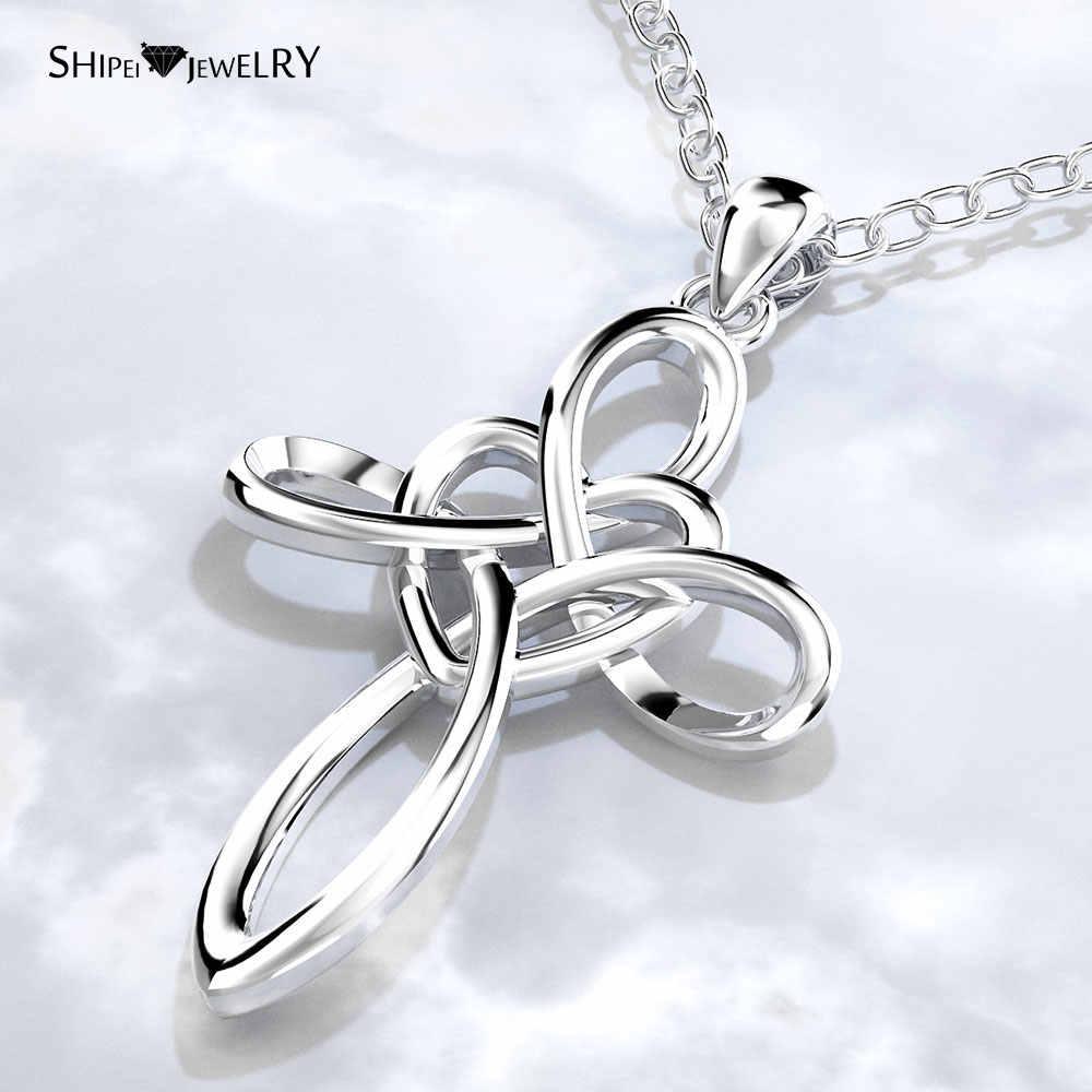 Moda Jóias 925 Corações de Prata Pingente de Cruz Religiosa Cruz de Metal Simples Colar de Cadeia para Mulheres Homens Presente de Formatura