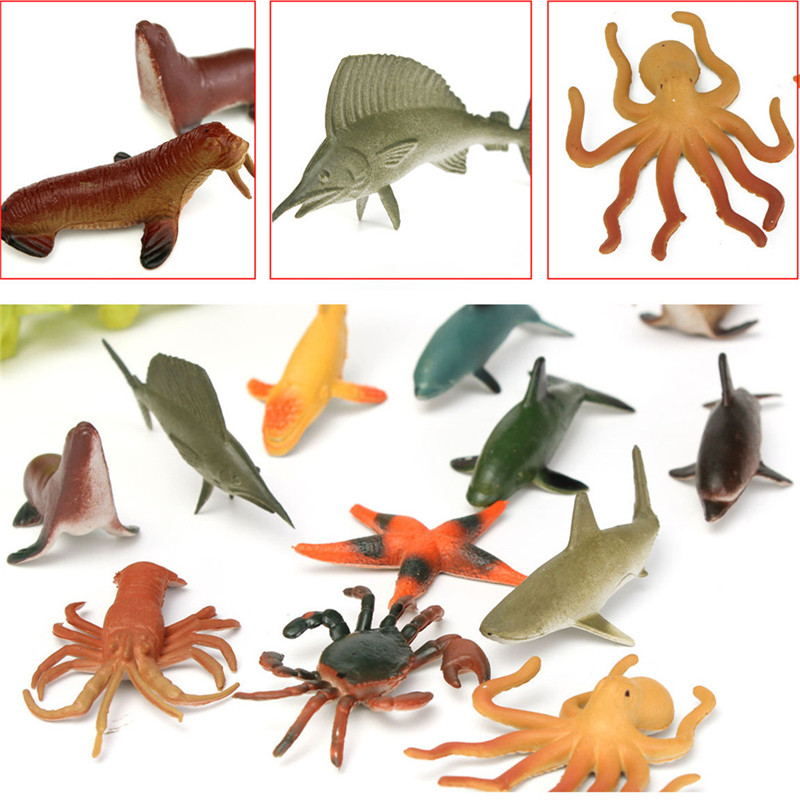 12PCS/Set 4.5-8cm Plastic Marine Animal Figures Ocean Creatures Sea Life Shark Whale Crab Kids Toy 65 pcs set small sea animals toy figurine mixed lot ocean creatures fish marine life solid model children gifts free shipping