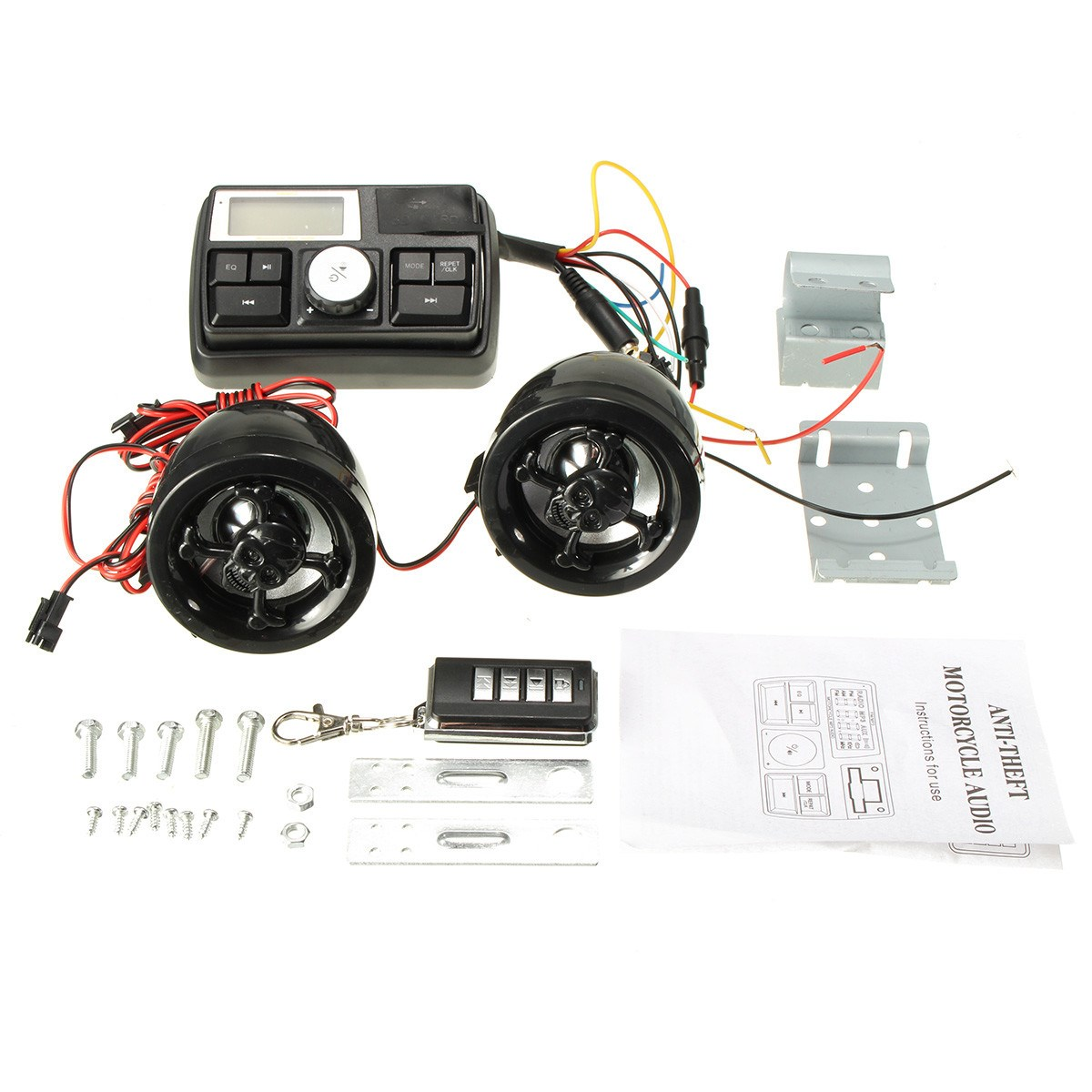 Anti Theft Motorcycle Handlebar Audio System Alarm Mp3 Player Wiring Usb To Speaker Fm Sd