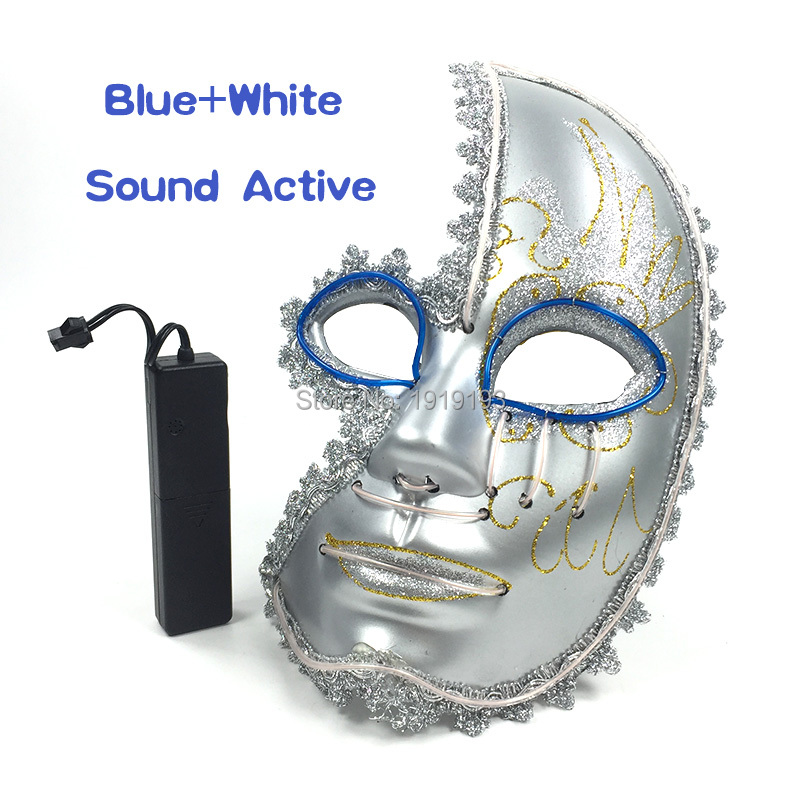 Nightlife Led Strip Half Face Glowing Mask Sound Activated Light Up Venetian Sparkle Mask for Anniversary Celebration Decor protective outdoor war game military skull half face shield mask black