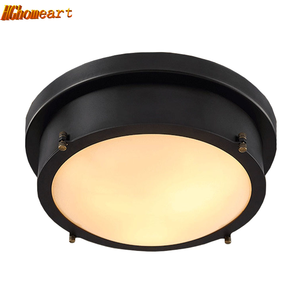 Hghomeart Quality Flush Mount Ceiling Light 110V-220V American Retro Style Iron 18W Led Lights Bedroom Living Room Fixtures chandeliers lights led lamps e27 bulbs iron ceiling fixtures glass cover american european style for living room bedroom 1031