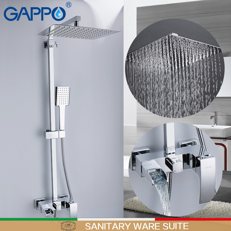 GAPPO sanitary ware suite wall mounted shower heads bathroom massage showers waterfall rainfall bath mixer shower sets