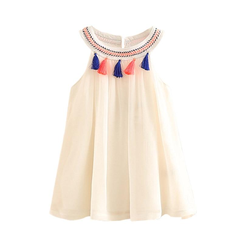 2018 Hot Summer 2-10T Years Childrens Plaid Braid O-Neck Ethnic Vintage Style Tank Sundress Tassel Kids Baby Girls Lace Dress