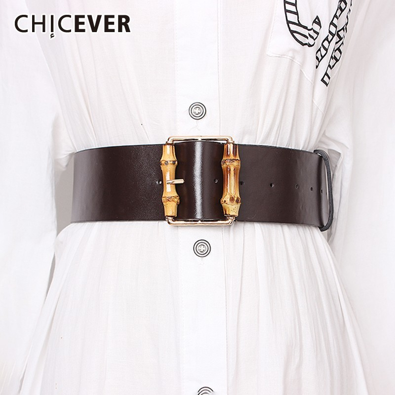 CHICEVER Solid PU Belts For Women High Waist Vintage Dresses Accessories Fashion New Widely Belt Female 2020 Summer