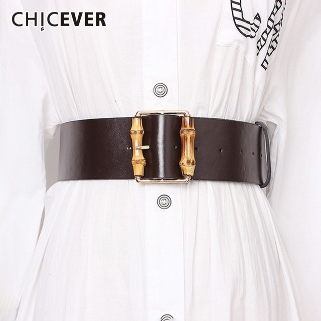 1c8f4460fd0f8 CHICEVER Solid PU Belts For Women High Waist Vintage Dresses Accessories  Fashion New Widely Belt Female 2019 Summer