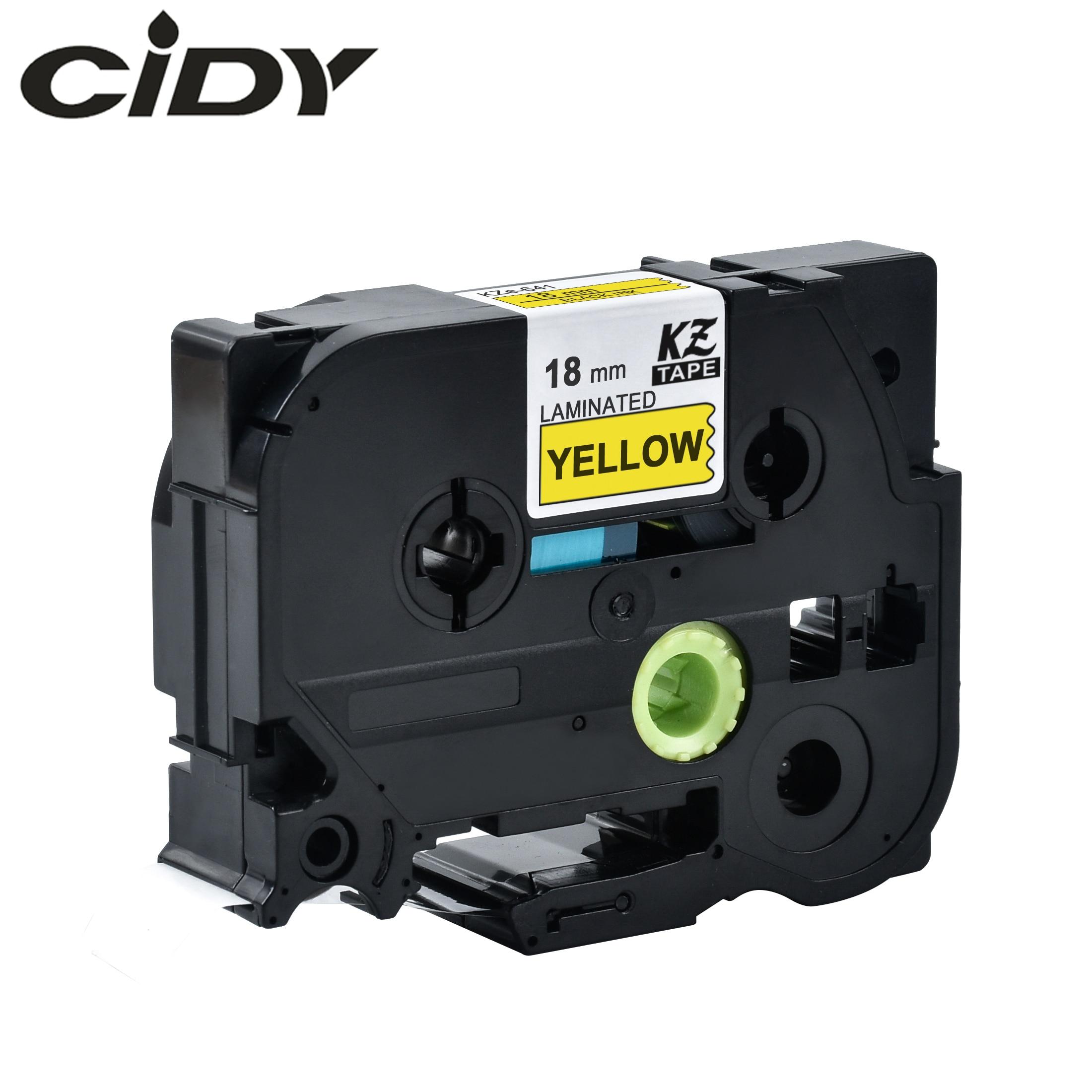 CIDY Tze 641 Tz641 Black On Yellow Laminated Compatible P Touch 18mm Tze-641 Tz-641 Tze641 Label Tape Cassette Cartridge