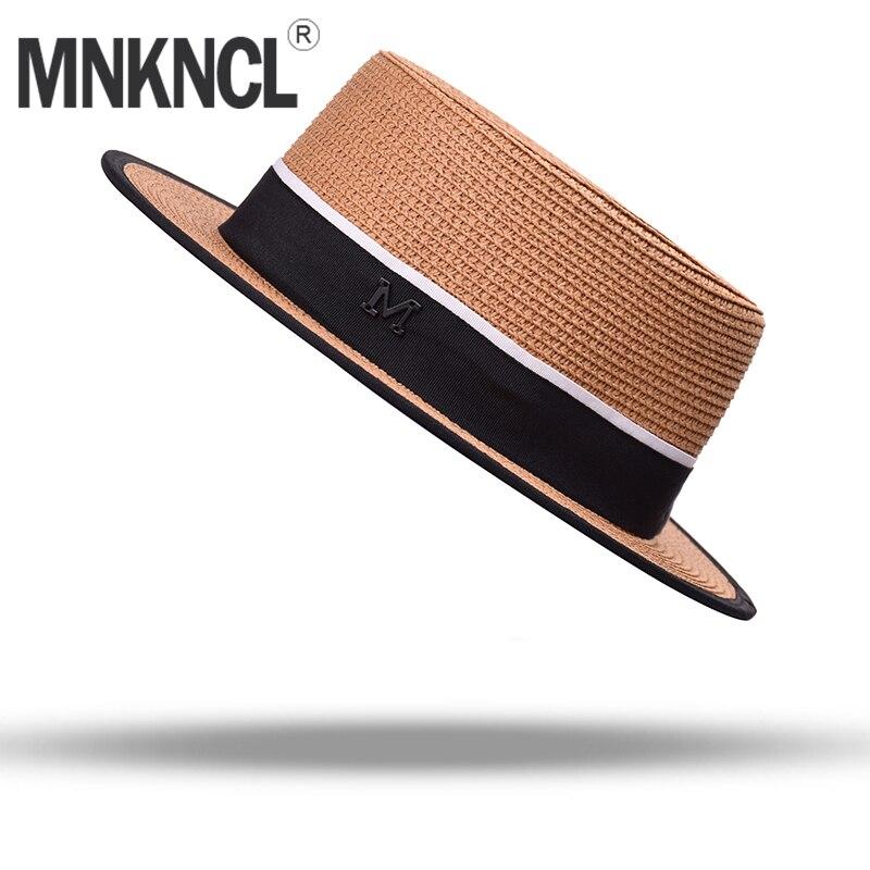 MNKNCL Women Summer Beach Sun Cap 2018 New Brand Flat Top Straw Hat Men Boater Hats Bone Feminino