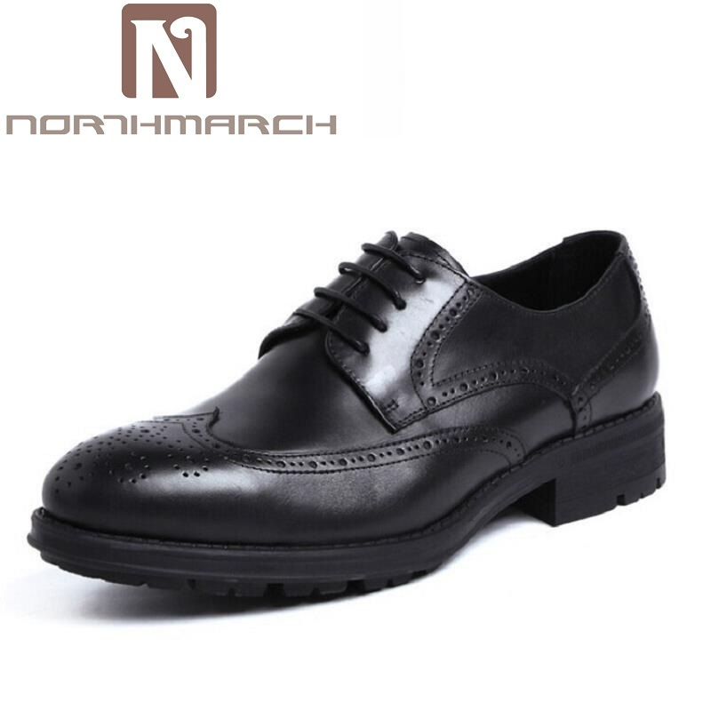 NORTHMARCH Italian Lace Up Men Genuine Leather Men Wedding Brogue Formal Dress Business Party Office Black Oxford Shoes Scarpe 2017 classic polka dot lace up men brogue dress shoes genuine leather brown black formal office business man suit shoe e71815 21 page 9