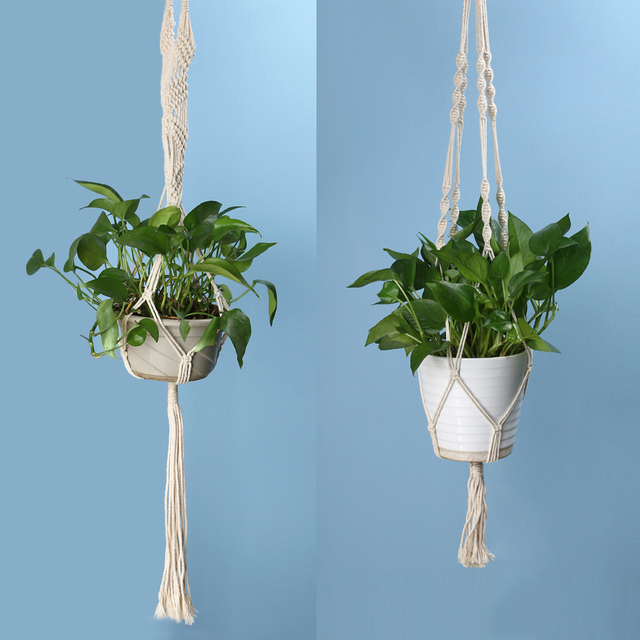 Vintage Knotted Green Plant Hanger Basket Flowerpot Holder Macrame Lifting Rope Garden Home Decoration Flower Plant Display