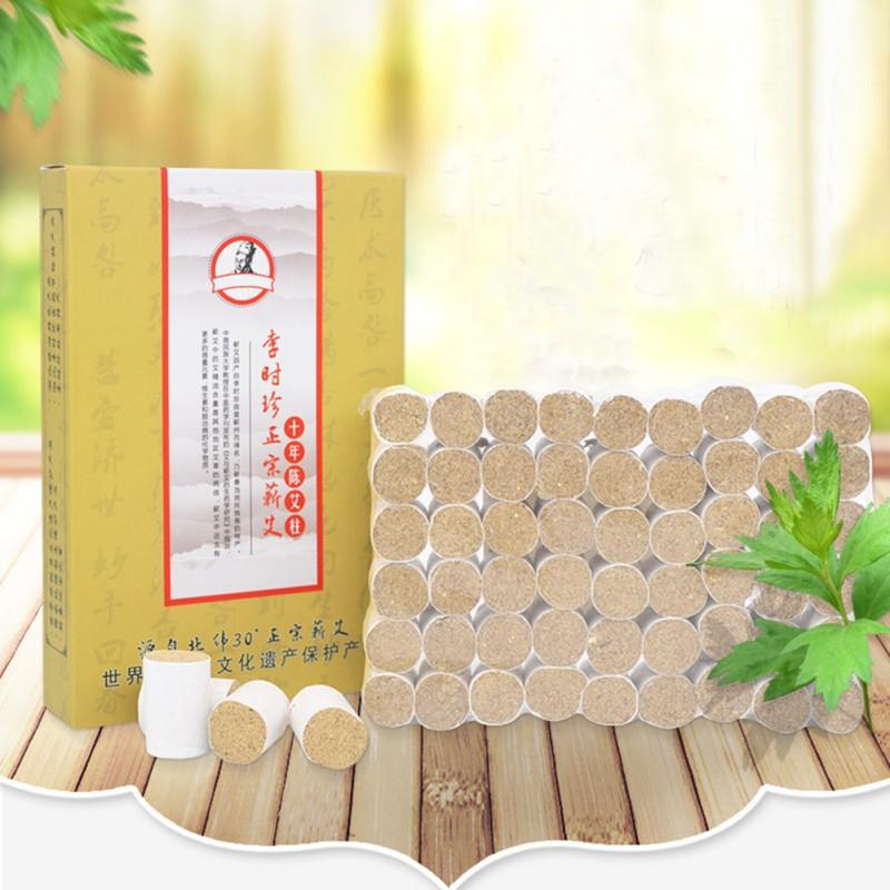 Body Care Massage 10years Pure Moxibustion Column 54pcs Moxa Sticks Healing Therapy Small Metal Moxibustion Box 100g 10 1 moxa wool in massage