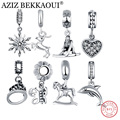 AZIZ BEKKAOUI Original 100% 925 Sterling Silver Heart Charms Fit Original Pandora Bracelet Crystal Rose Charms For Necklace