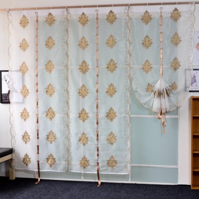 Hiện đại Phong Cách Châu Âu Thêu Vải Tuyn Rèm cho Phòng Ngủ Nội Thất Phòng Khách Trang Trí Bảng Điều Khiển Sheer Trắng Mềm Xử Lý Cửa Sổ