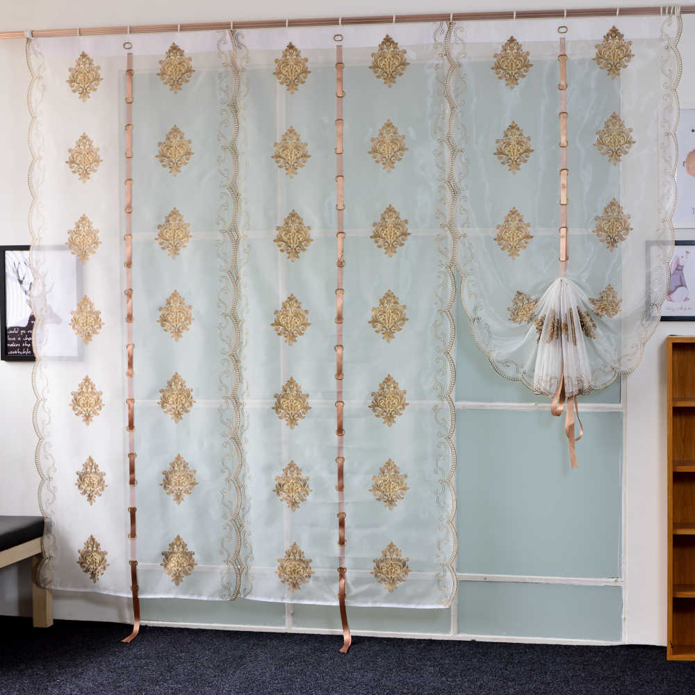 Modern European Style Embroidered Tulle Curtain For Bedroom Living