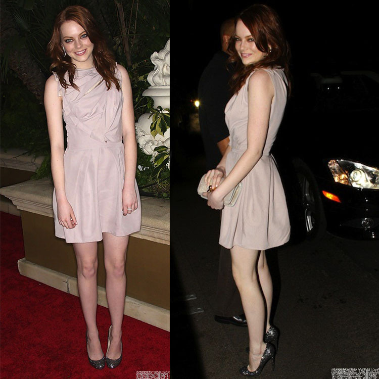 Emma Stone Nude Cocktail Dress At Qvc Red Carpet Style Event In